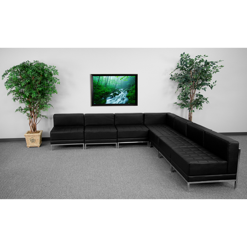 #44 - 7 Piece Imagination Series Black Leather Sectional Configuration