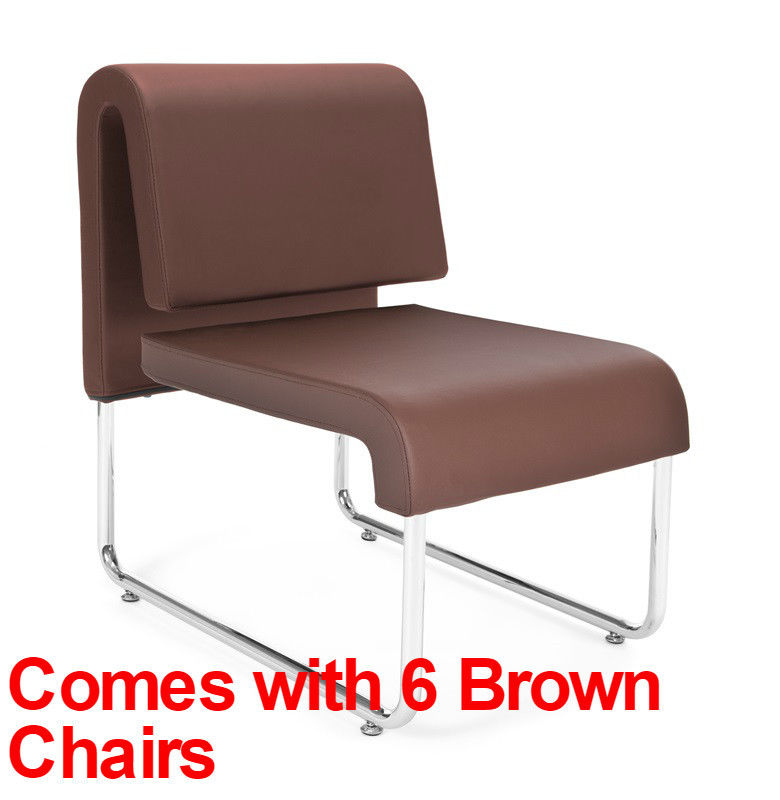 #50 - (9 PCS)UNO Series Lounge Package with Brown Chairs & Painted Screen Tables