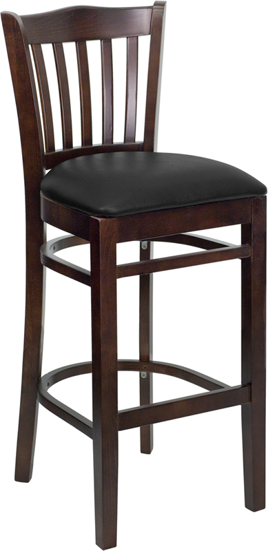 #22 - WALNUT WOOD FINISHED VERTICAL SLAT BACK RESTAURANT BAR STOOL WITH BLACK VINYL
