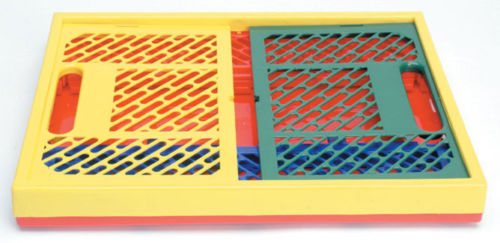 #74 - Colored Large Stackable Vented Collapsible Crates w/ Built-in Handles