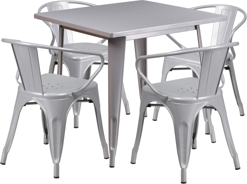 #55 - 31.5'' Square Silver Metal Indoor-Outdoor Restaurant Table Set with 4 Chairs