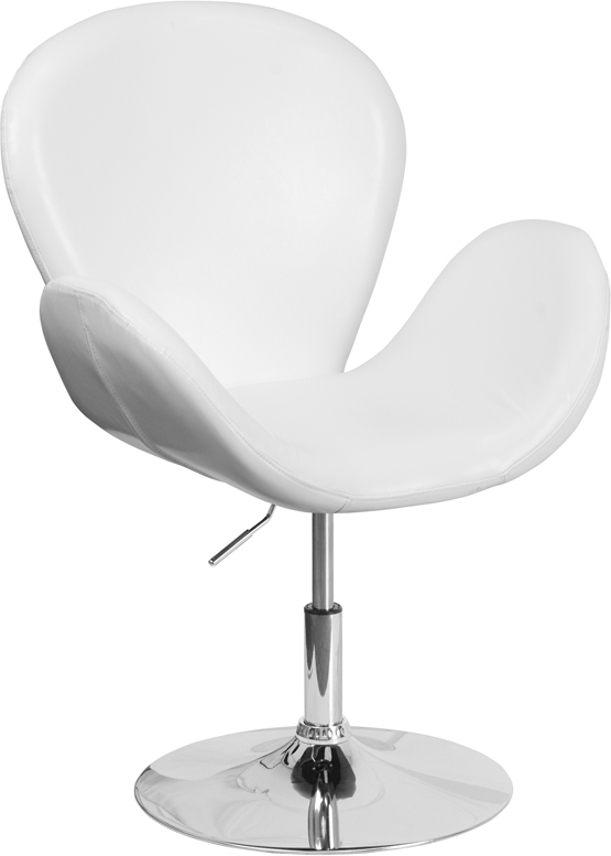 #73 - Retro Style White Leather Accent Chair with Adjustable Seat Height