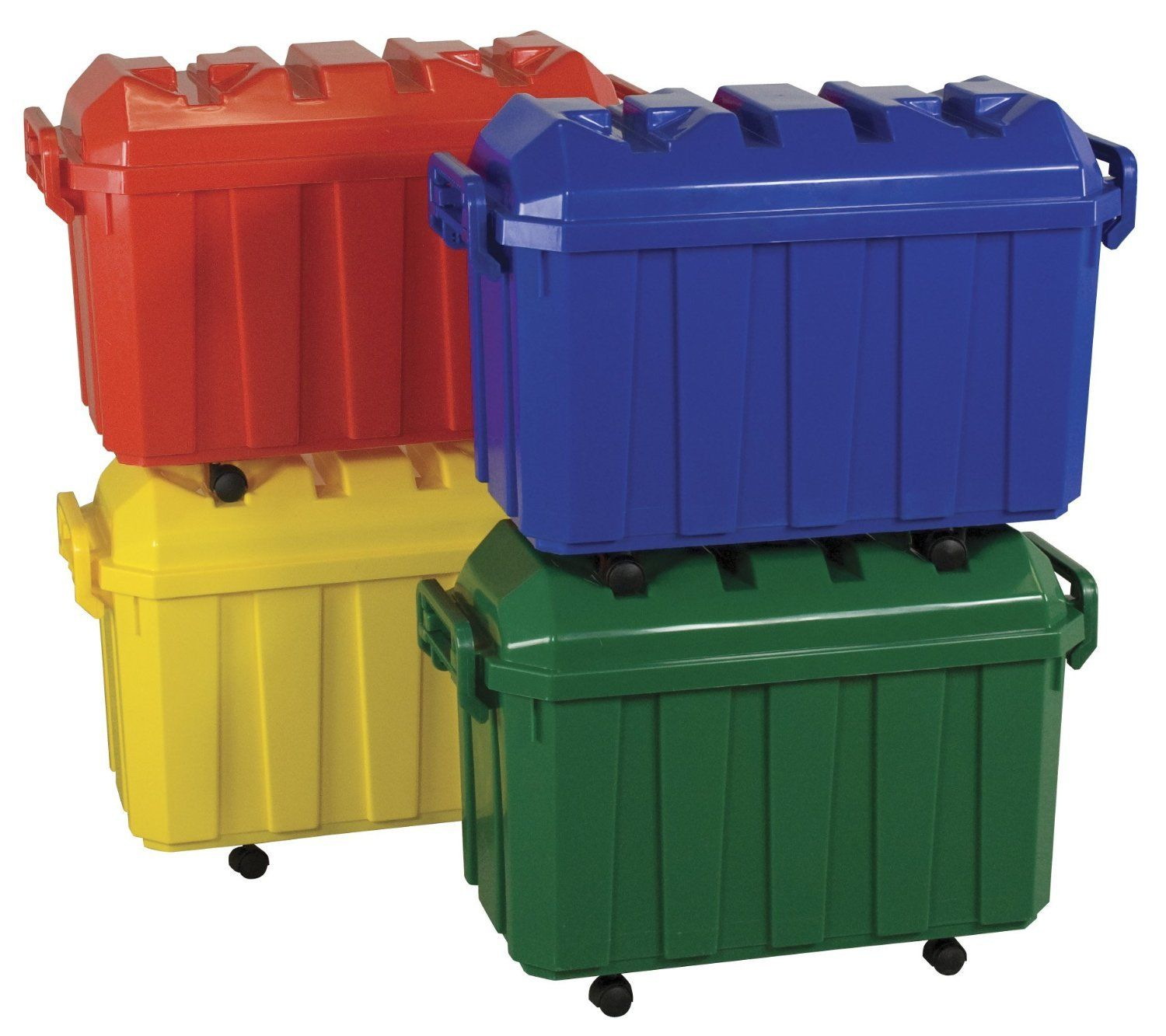 #75 - (4 PACK) of 18 Gallon Stackable Mobile Storage Trunks in Assorted Colors