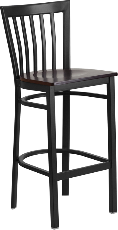 #70 - Black School House Back Metal Restaurant Barstool with a Walnut Finish Wood Seat