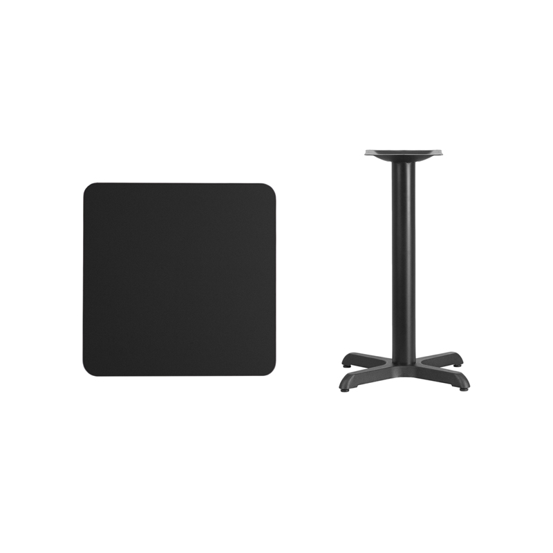 #64 -24'' Square Black Laminate Table Top with 22'' x 22'' Table Height Base