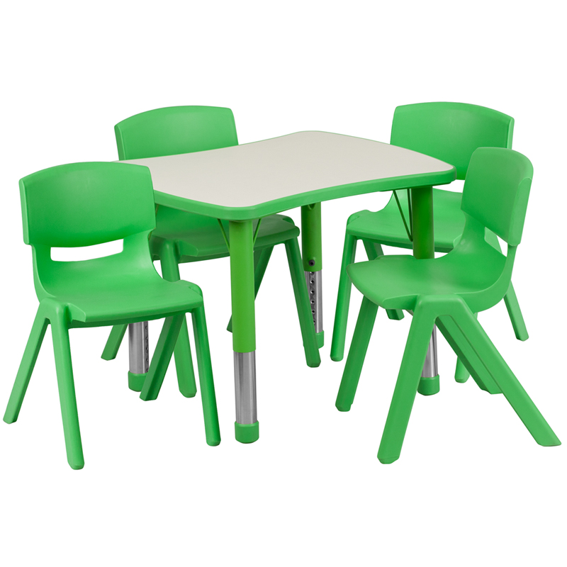 #17 - 21.875''W X 26.625''L ADJUSTABLE RECTANGULAR GREEN PLASTIC ACTIVITY TABLE SET WITH 4 SCHOOL STACK CHAIRS