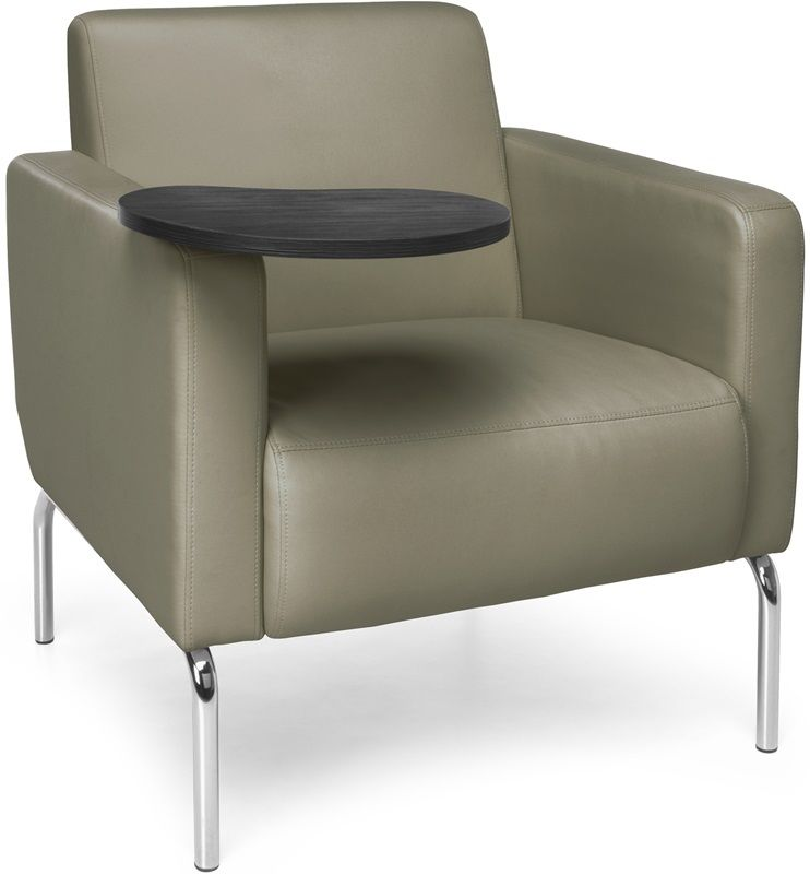 #195 - Lounge Chair with Taupe Vinyl Seat with Tungsten Finish Tablet