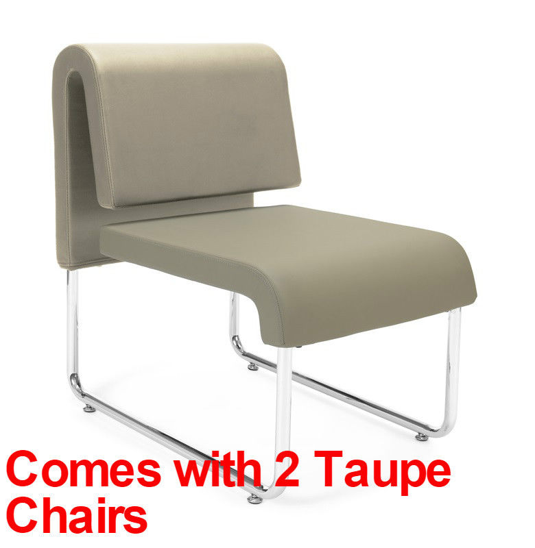 #81 - (3 PCS) UNO Series Lounge Package with Taupe Chairs & Painted Screen Table