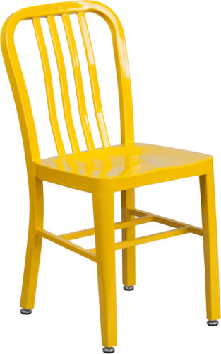 #8 - Industrial Style Yellow Metal Restaurant Chair - Indoor-Outdoor Restaurant Chair