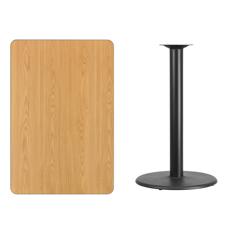 #197 - 30'' X 45'' RECTANGULAR NATURAL LAMINATE TABLE TOP WITH 24'' ROUND BAR HEIGHT BASE