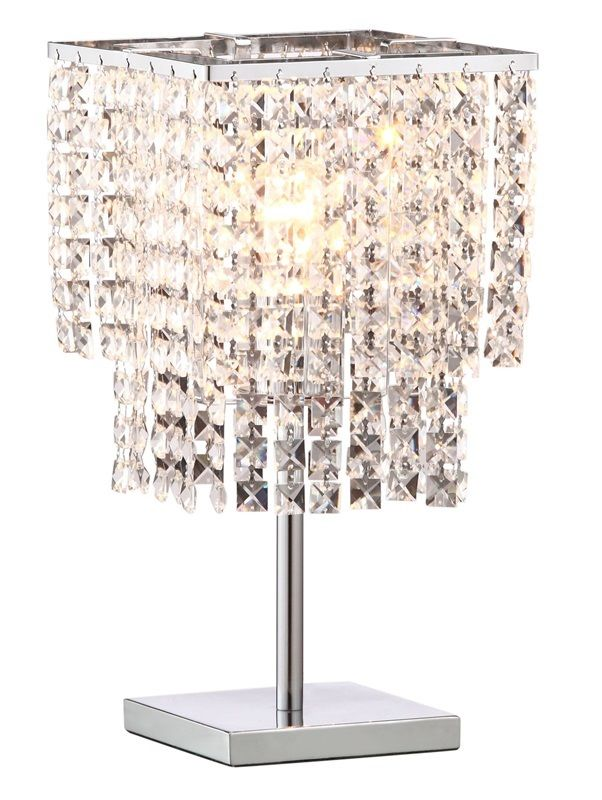 #129 - Beautiful Table Lamp in Chrome Finish w/Sparkling Floating Crystals -Home Decor