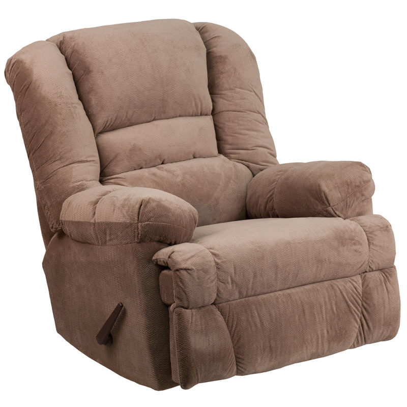 #4 - Contemporary Rocker Recliner in Camel Microfiber Upholstery - Home Furniture