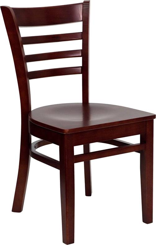#31 - MAHOGANY FINISHED LADDER BACK WOODEN RESTAURANT CHAIR
