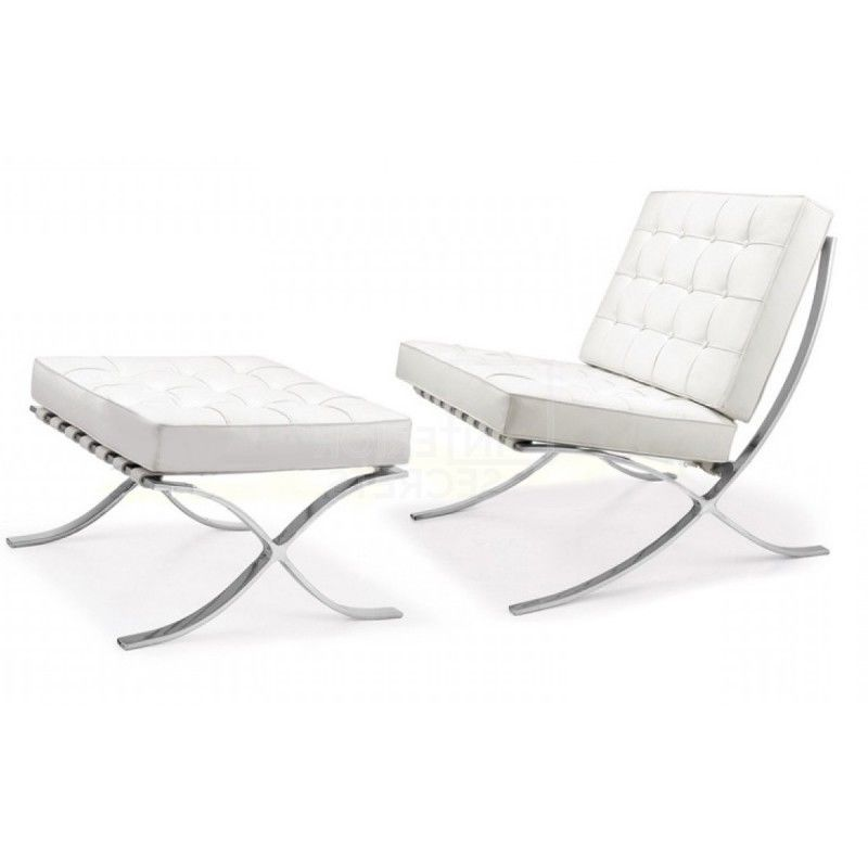 #52 - Barcelona Style Lounge Chair and Ottoman in Genuine White Leather - Accent Chair
