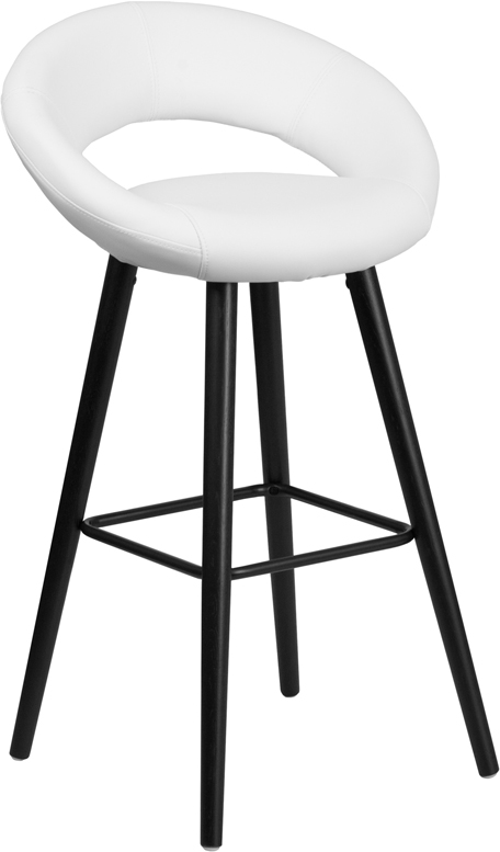 #220 - 29'' High Contemporary White Vinyl Round Barstool with Cappuccino Wood Frame