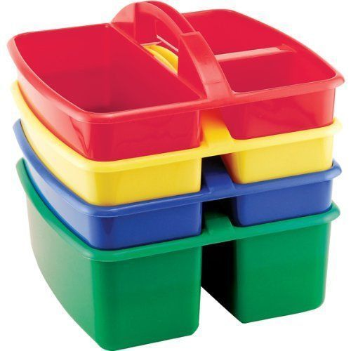 #76 - (4 Pack) Assorted Colors Large Art Caddy with Two Compartments