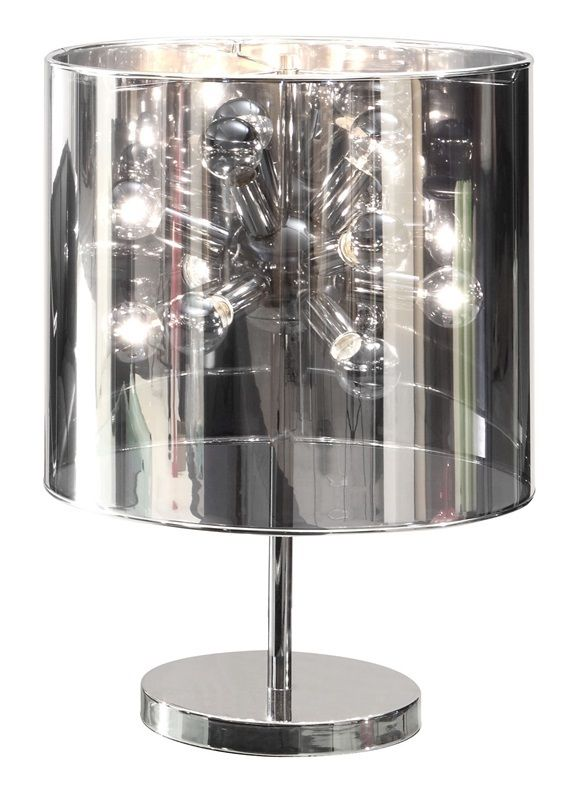 #131 - Stylish Table Lamp w/Chrome Base & Translucent Mirrored Shade - Home Decor