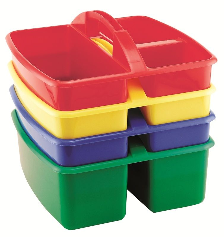 #77 - (4 Pack) Assorted Colors Small Art Caddy with Three Compartments