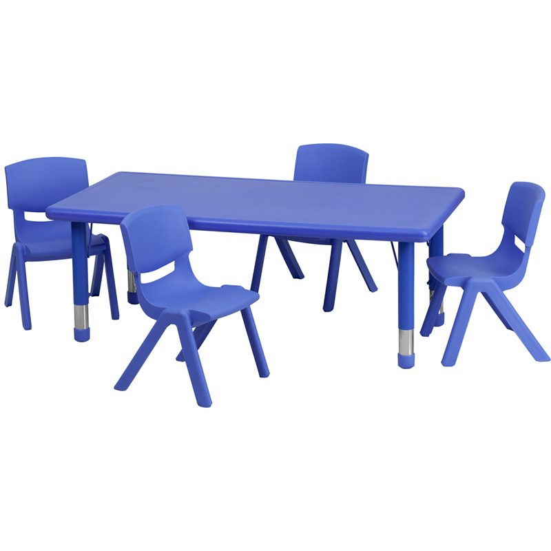 #1 - 24''W X 48''L ADJUSTABLE RECTANGULAR BLUE PLASTIC ACTIVITY TABLE SET WITH 4 SCHOOL STACK CHAIRS