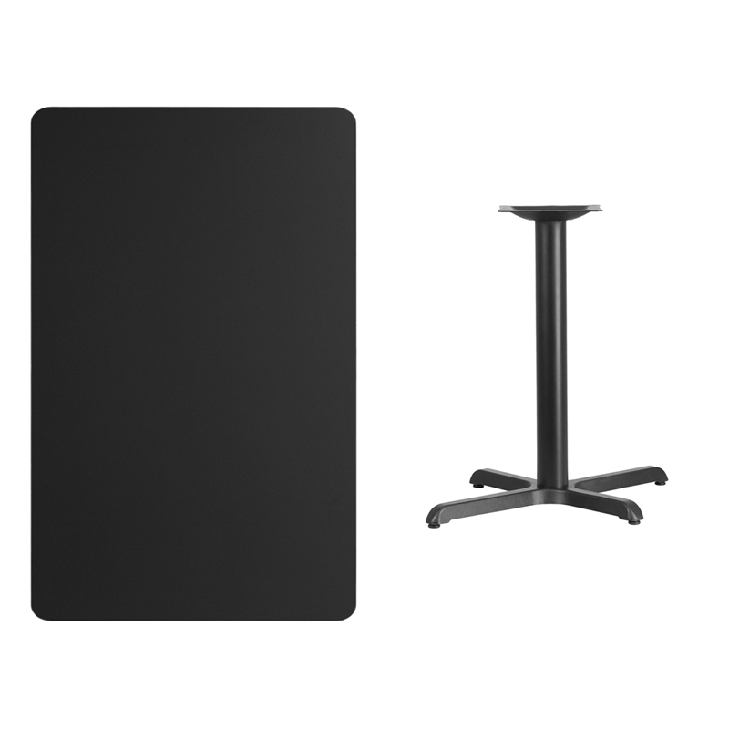 #200 - 30'' X 48'' RECTANGULAR BLACK LAMINATE TABLE TOP WITH 22'' X 30'' TABLE HEIGHT BASE