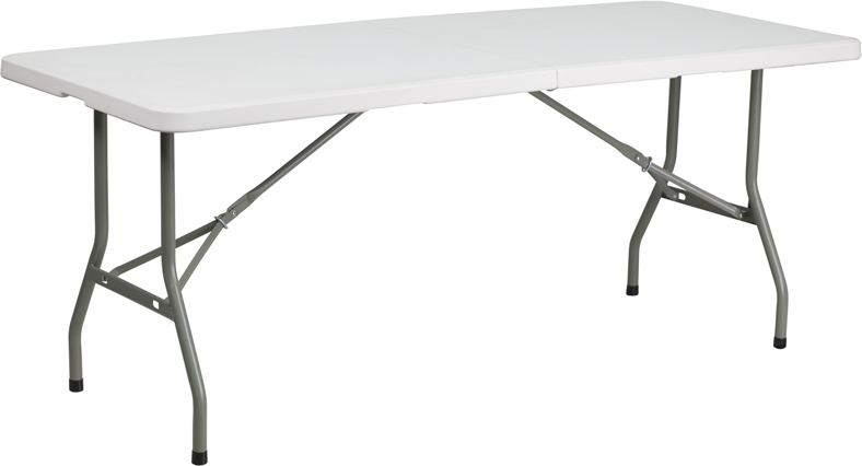 #13- 30''W X 72''L BI-FOLD GRANITE WHITE PLASTIC FOLDING TABLE
