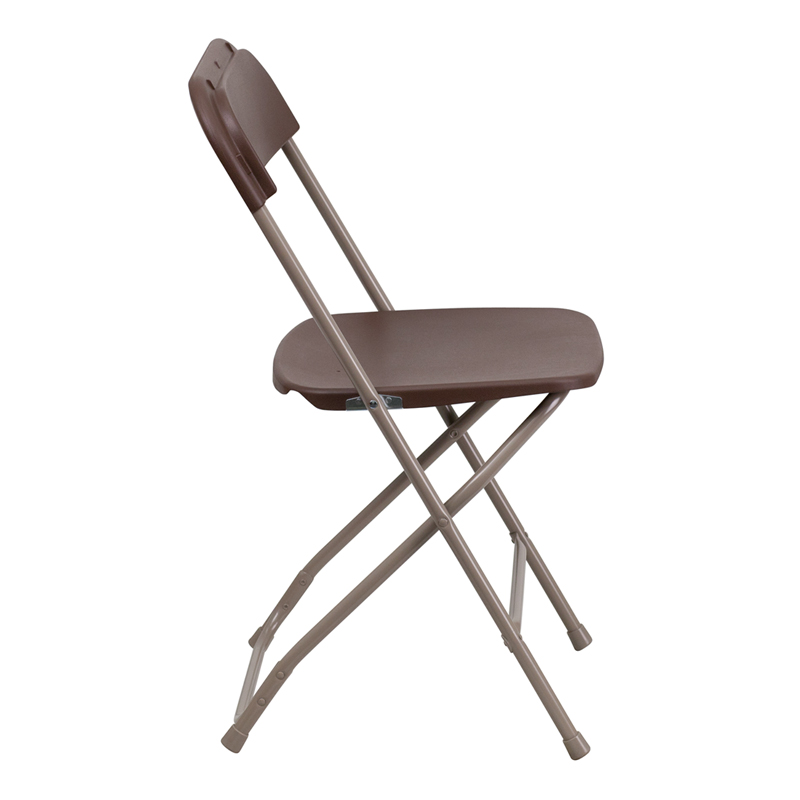 #12 - 300 LBS. PLASTIC FOLDING CHAIRS  BROWN COLOR