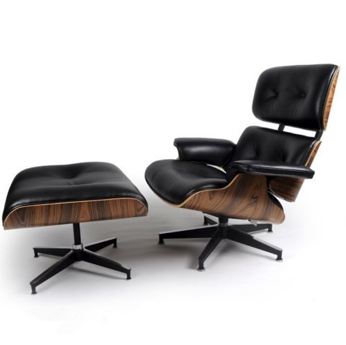 #56 - Eames Style Palisander Lounge Chair and Ottoman Set in Black Top Grain Leather