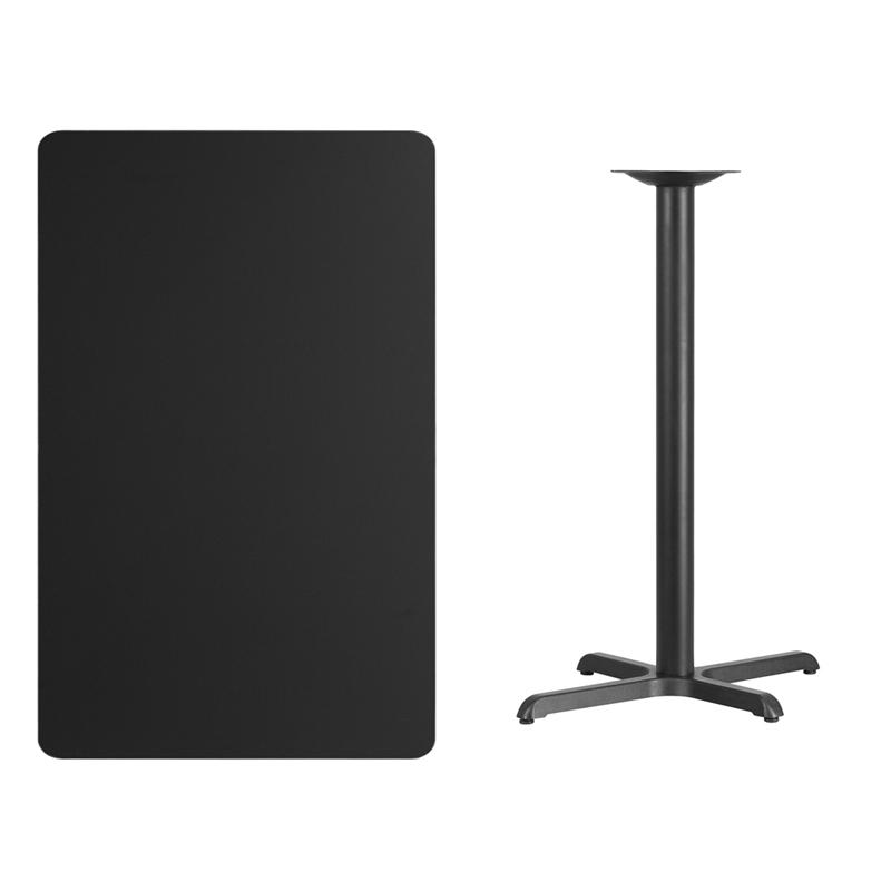 #201 - 30'' X 48'' RECTANGULAR BLACK LAMINATE TABLE TOP WITH 22'' X 30'' BAR HEIGHT BASE