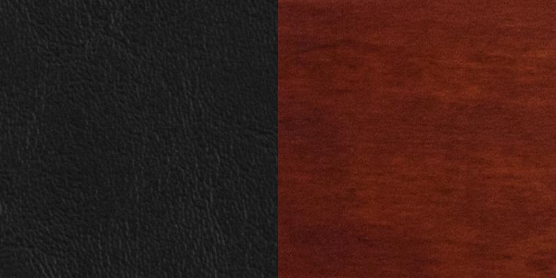 #1 - SLAT BACK MAHOGANY WOODEN RESTAURANT BARSTOOL - BLACK VINYL SEAT