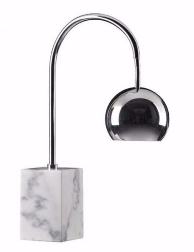 #134 - Modern Arc Style Design Table Lamp in Chrome w/Solid Carrera Marble Base