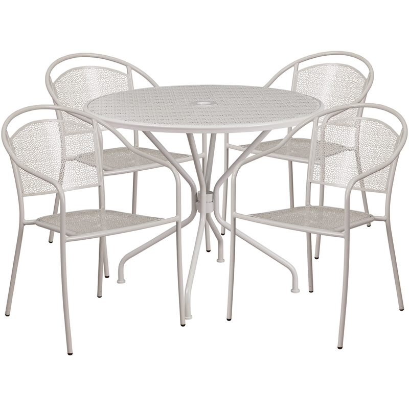 #156 - 35.25'' Round Light Gray Indoor-Outdoor Patio Restaurant Table Set with 4 Round Back Chairs