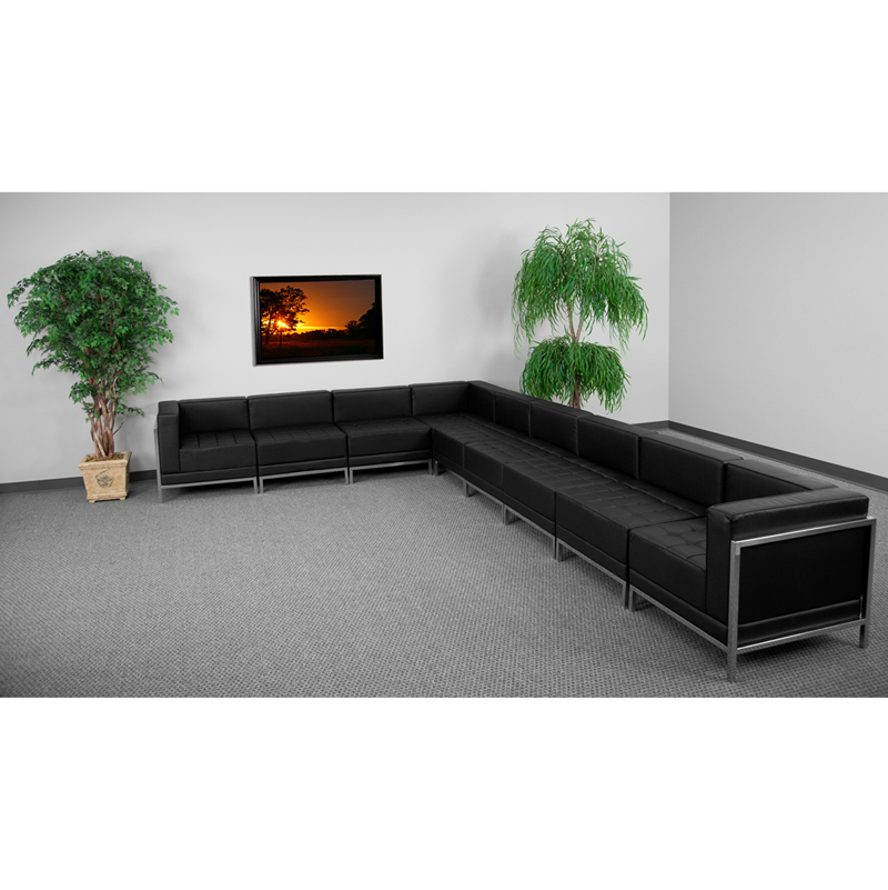 #46 - 9 Piece Imagination Series Black Leather Sectional Configuration