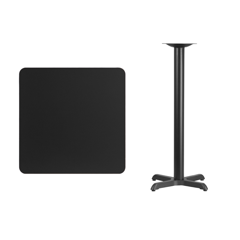 #81 - 30'' SQUARE BLACK LAMINATE TABLE TOP WITH 22'' X 22'' BAR HEIGHT BASE