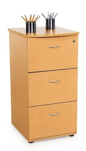 16 - Milano Series Three-Drawer Maple Wood File Cabinet with Lock
