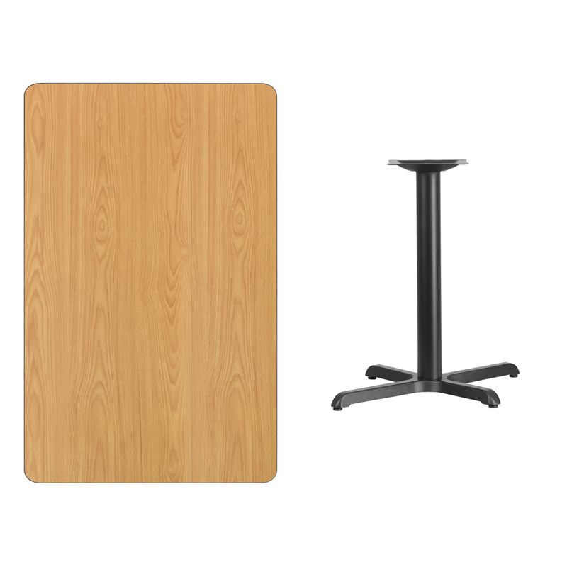 #204 - 30'' X 48'' RECTANGULAR NATURAL LAMINATE TABLE TOP WITH 22'' X 30'' TABLE HEIGHT BASE
