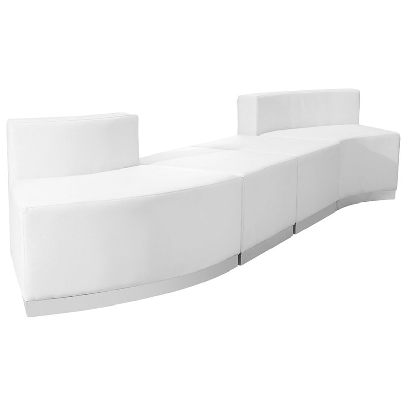 #67 - LOUNGE SERIES WHITE LEATHER RECEPTION CONFIGURATION, 4 PIECES