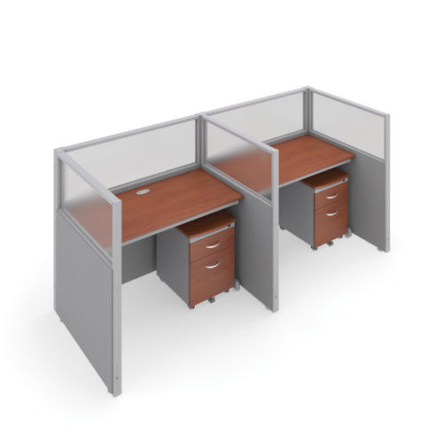 #7 - 47'' H x 48'' W Rize 2 Office Cubicle WorkStation in Gray Vinyl w/Cherry Finish