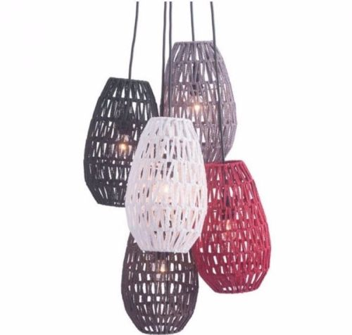 #138 - Stylish Design Ceiling Lamp w/Five Mulitcolored Tear Shaped Woven Pendant Shades