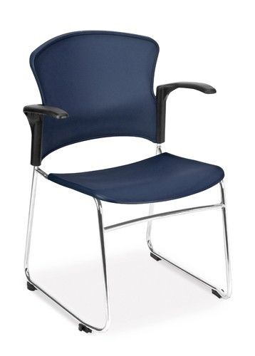 70 - Multi-Use Blue Color Reception Stack Office Side Chair with Arms - Guest Seating