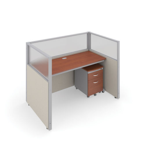 #13 -  47'' H x 60'' W Rize Office Privacy WorkStation in Beige Vinyl w/Cherry Finish