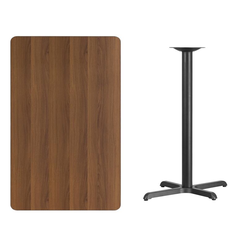 #207 - 30'' X 48'' RECTANGULAR WALNUT LAMINATE TABLE TOP WITH 22'' X 30'' BAR HEIGHT BASE