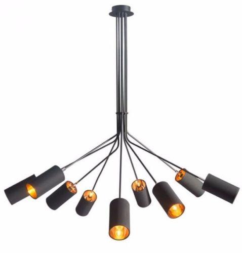 #139 - Industrial Modern Style Chandelier in Black w/9 Cylindrical Matte Black Shades