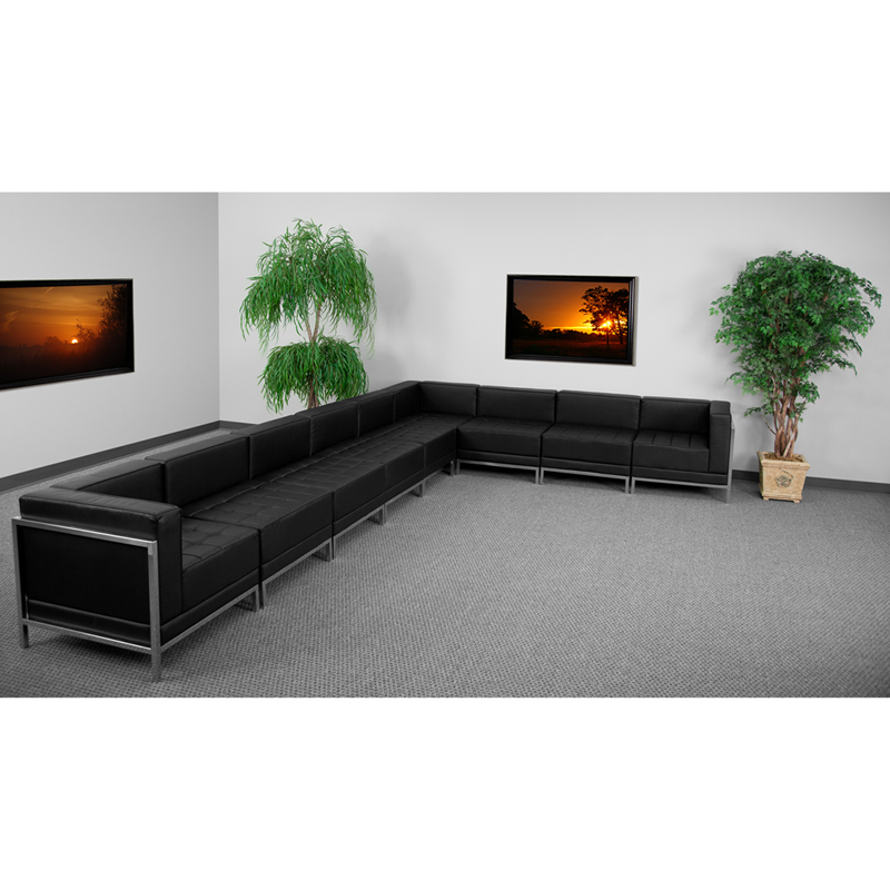 #47 - 9 Piece Imagination Series Black Leather Sectional Configuration