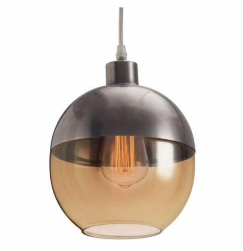 #140 - Sleek Retro Style Ceiling Lamp w/Edison Bulb & Round Amber Colored Shade