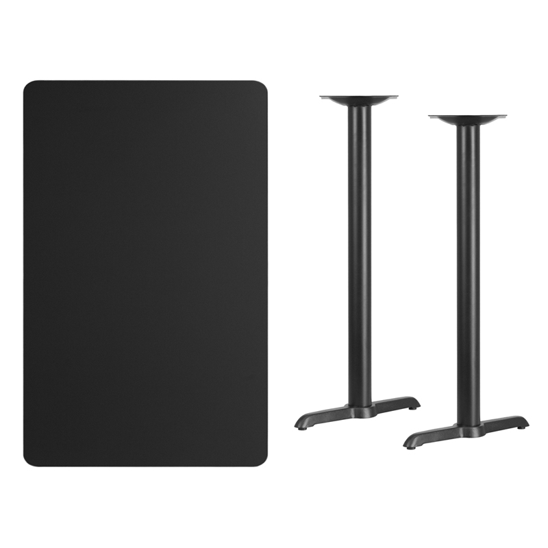 #209 - 30'' X 48'' RECTANGULAR BLACK LAMINATE TABLE TOP WITH 5'' X 22'' BAR HEIGHT BASES