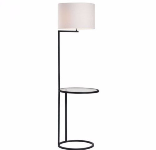 #141 - Architectural Slim Style Floor Lamp in Black & White w/Small Round Side Table