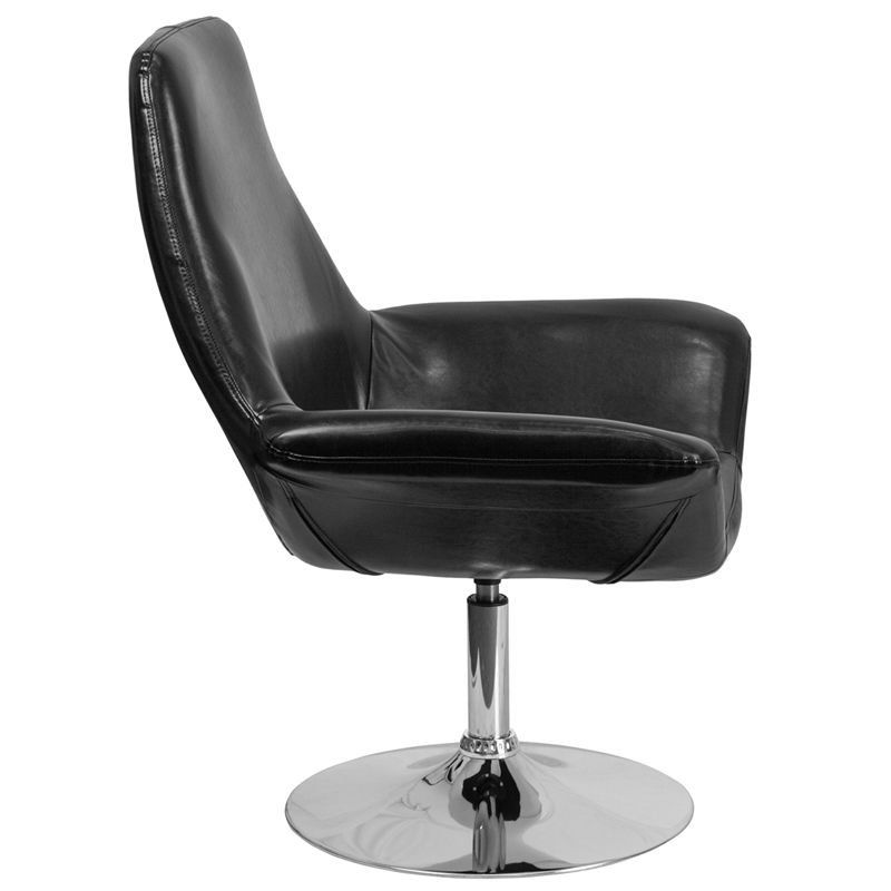 #45 - Contemporary Design Black Leather Reception Lounge Chair - Office Lounge Chair