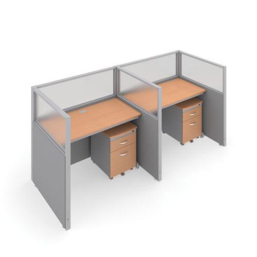 #8 - 47'' H x 48'' W Rize 2 Office Cubicle WorkStation in Gray Vinyl w/Maple Finish