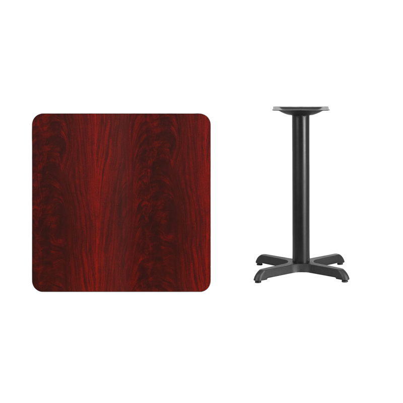 #82 - 30'' SQUARE MAHOGANY LAMINATE TABLE TOP WITH 22'' X 22'' TABLE HEIGHT BASE
