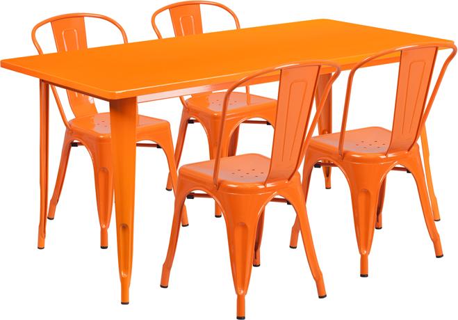 #61 - 31.5'' x 63'' Rectangular Orange Metal Indoor-Outdoor Restaurant Table Set w/4 Chair